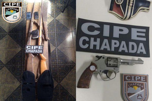 Nas suas primeiras atuações a Cipe Chapada realizou apreensão de armas e substâncias psicotrópica.