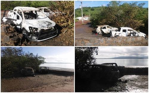 Dois dos carros usados na fuga foram incendiados a beira do rio | Foto: Reprodução Maragogipe Agora
